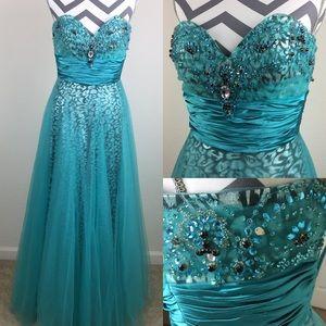 Jovani Teal Blue Leopard Prom Pageant Dress Size 2
