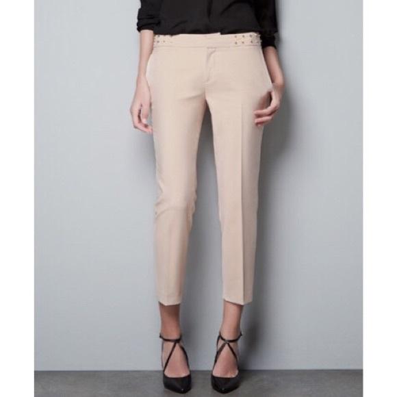 d567e72e Zara Blush Pink Studded Trousers Pants. M_59eec2fcd14d7bde5d012694