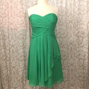 David's Bridal Green Strapless Dress