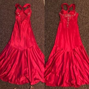 Long red gown with beading design