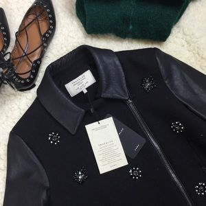 ✨ NWT ✨Zara embellished jewel wool & leather coat