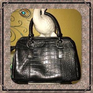 Bueno Faux Croc Leather Handbag Gunmetal Gray