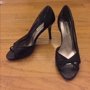 Steve Madden Black Leather Peep Toe Heels