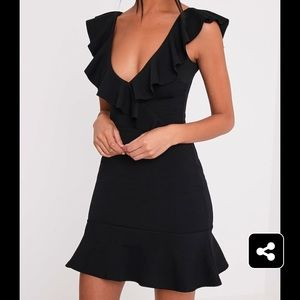 PrettyLittleThing Black Frill Detail Bodycon Dress