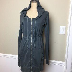 Velvet long hooded zip tunic top