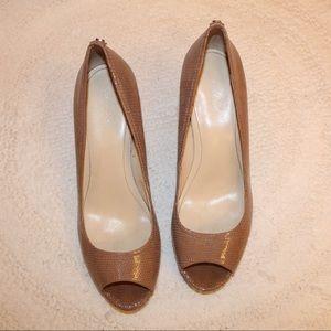 "3"" Peep Toe High Heels, Calvin Klein, Beige, 8.5"