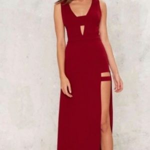 Nasty Gal cranberry colored dress