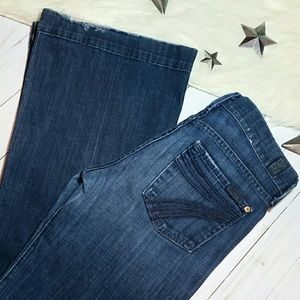 7 for all mankind jeans Dojo blue stitch flares 25