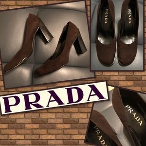 Prada Brown Suede Block Heel Pumps