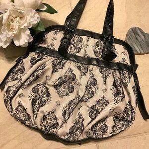ALDO black and light grey damask pattern purse