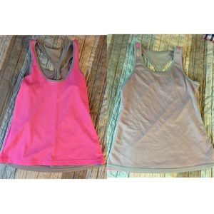 Reversible pink and grey workout tank
