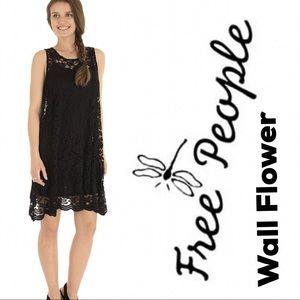 Free People Wall Flower Lace Tent Dress Mini Black