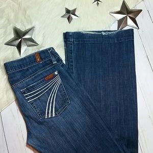 7 for all mankind jeans Dojo white stitch flare 25