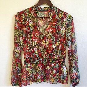 Zara Sheer Floral Tie Neck Peplum Boho Blouse NWT