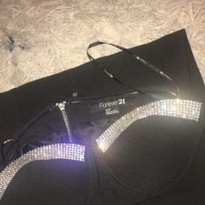 Cute black fancy dress with diamond on the chest