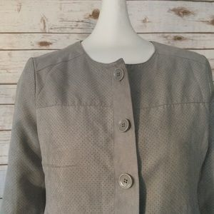 Liz Claiborne Gray Suede Button Up Blazer Jacket
