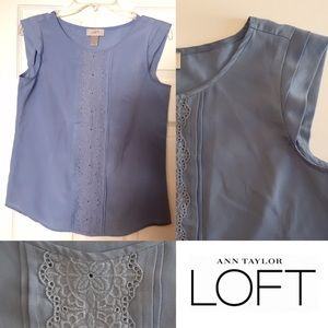 LOFT Blue Top w/ Embroidered Front & Cap Sleeves