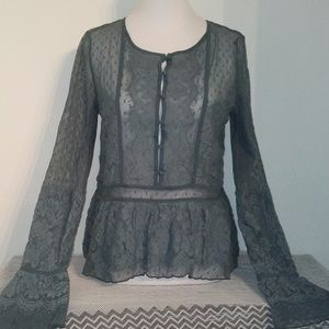 Stunning green lace Boho Free People l/s lace top