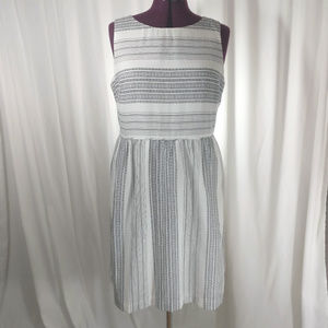 Black white pattern stripe Loft sundress NWT 12