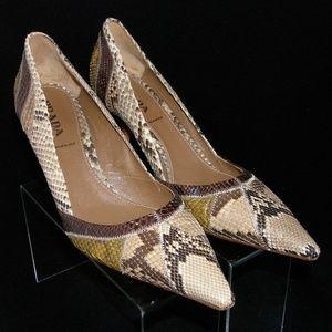 Prada snakeskin stitched pointed toe pumps 9.5