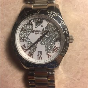Michael Kors Silver Map Watch *Authentic*
