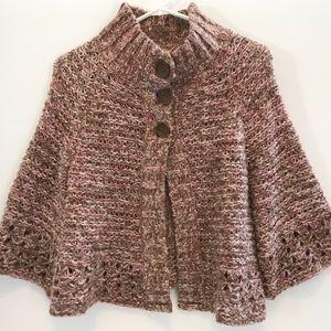 Free People Knit Poncho Sweater Wool Blend Sz M