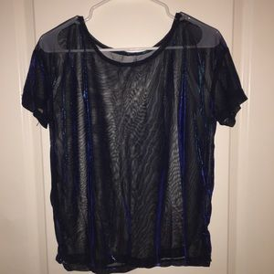 Holographic metallic mesh shirt
