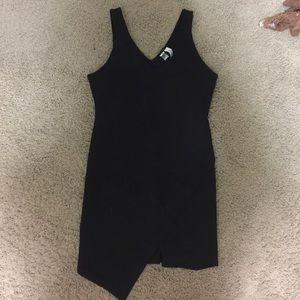 Black asymmetrical body con dress