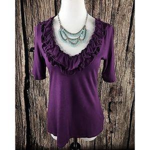 Express dark purple ruffle t-shirt