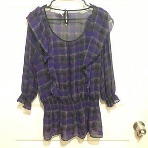 Purple plaid blouse