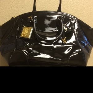 Ralph Lauren black patent leather large tote