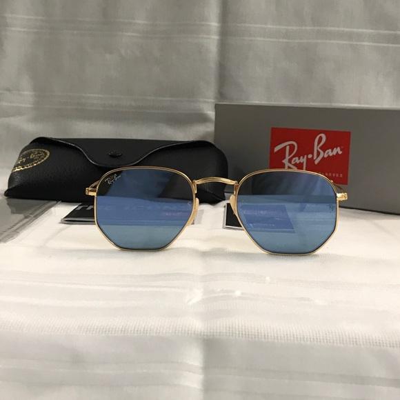 b52f62f432 Rayban Hexagonal Grey Reflective Sunglasses NEW