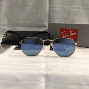 Rayban Hexagonal Grey Reflective Sunglasses NEW