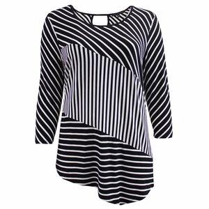 Women's Plus-Size Stripe Blouse Knit Top