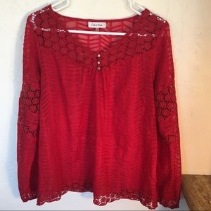 Calvin Klein Red Top w/ cotton lace inserts Sz S