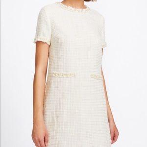 Pearl beading tweed dress cream short sleeve small