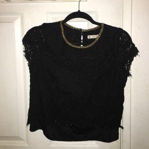 Black lace shirtsleeves top