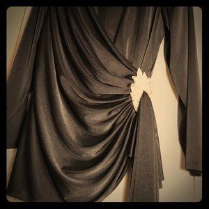 Blouse long sleeve black angel wrap shirt