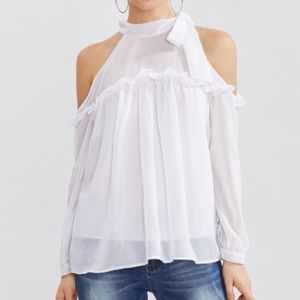 Open cold shoulder white frill trim bow tie top