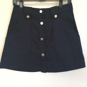 Zara Navy Blue A-Line Mini Skirt NWT