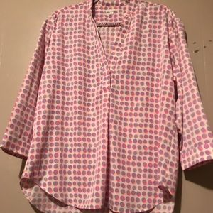 3 quarter sleeve polka dot blouse