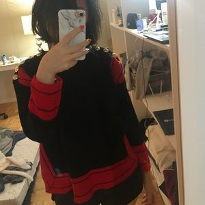 Sweaters - Black red color block sweater gold button