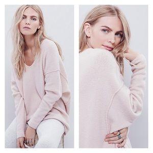 Free People softly vee blush sweater XS