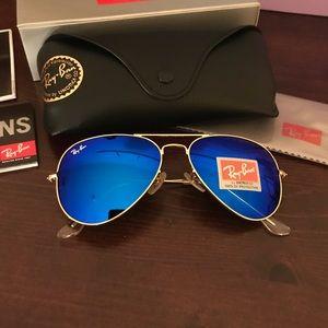 Dark blue & gold rayban aviator Sunglasses size 58