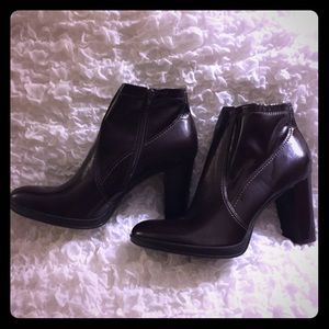 "NEW! Franco Sarto Brown Ankle Boots 4"" Heel Size 9"