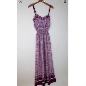 Ann Taylor Loft purple grey print maxi dress