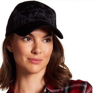 New Black Crushed Velvet Adustable Baseball Cap