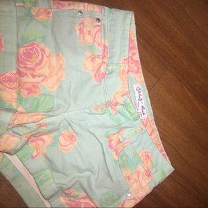 Jean Floral Shorts