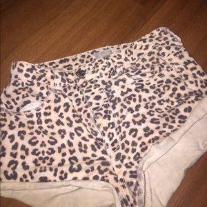 Cheetah Print Jean High Waisted Shorts