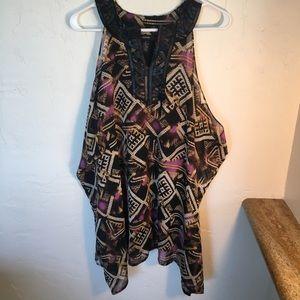 Alfani Tribal print top w/ Beaded neckline Sz 4